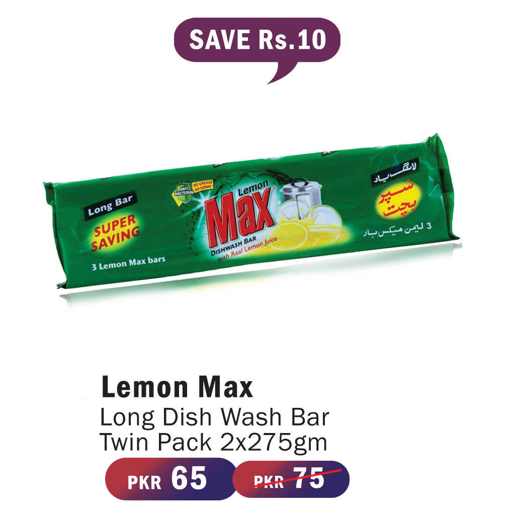 Lemon Max Long D/W Bar Twin Pack 2x275gm